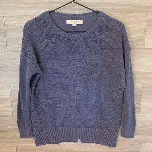 Loft Thick Knit Slouchy Sweater Blue Ramie Blend